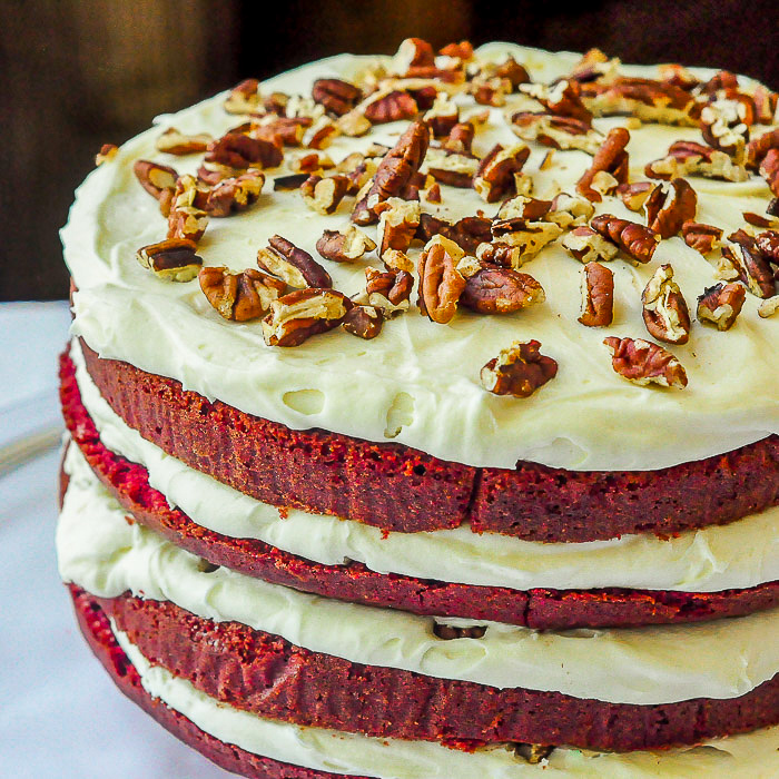 The Best Red Velvet Cake photo of the completed uncut 4 layer cake