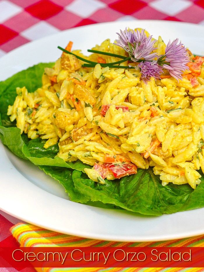Creamy Curry Orzo Salad photo with title text added for Pinterest