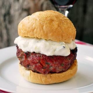 Cheese Stuffed Lamb Burgers with Lemon Mint Tzatziki