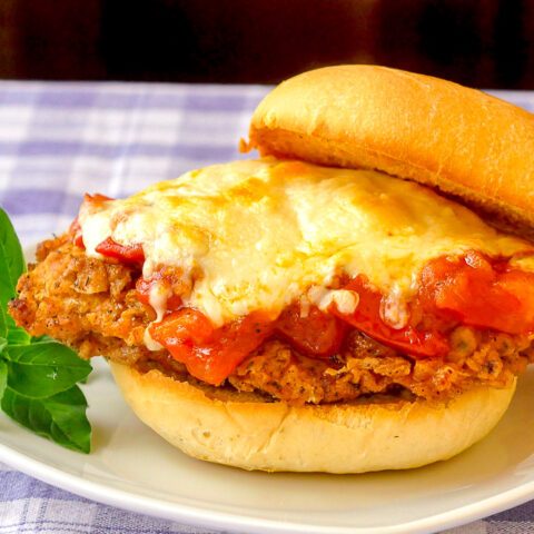 Double Crunch Fried Chicken Parmesan Burgers close up photo on a white plate
