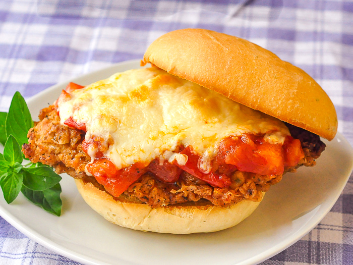 Double Crunch Fried Chicken Parmesan Burgers photo taken from overhead