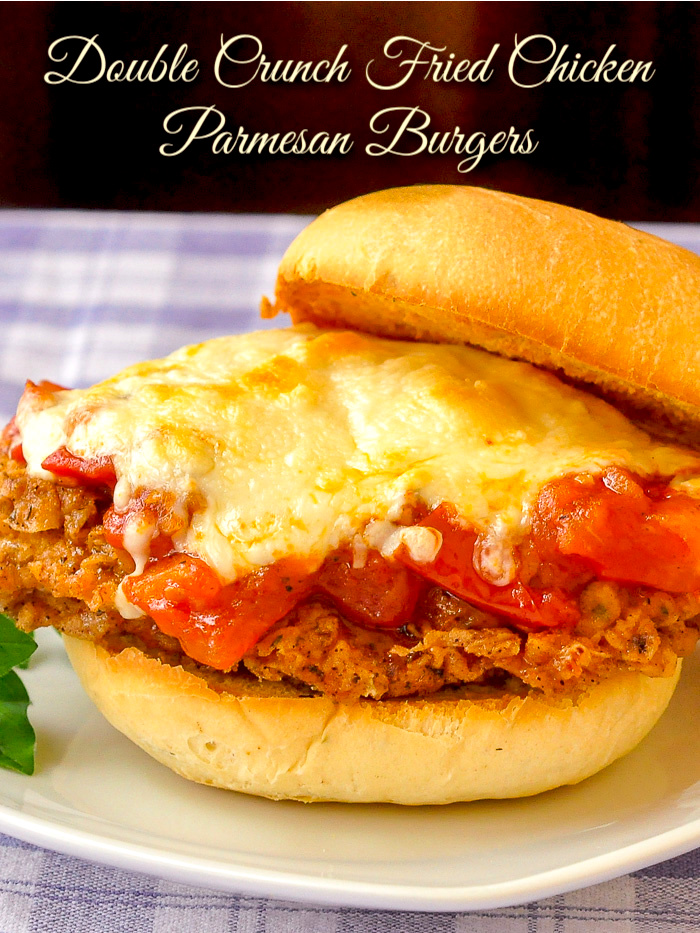 Double Crunch Fried Chicken Parmesan Burgers photo with title text added for Pinterest