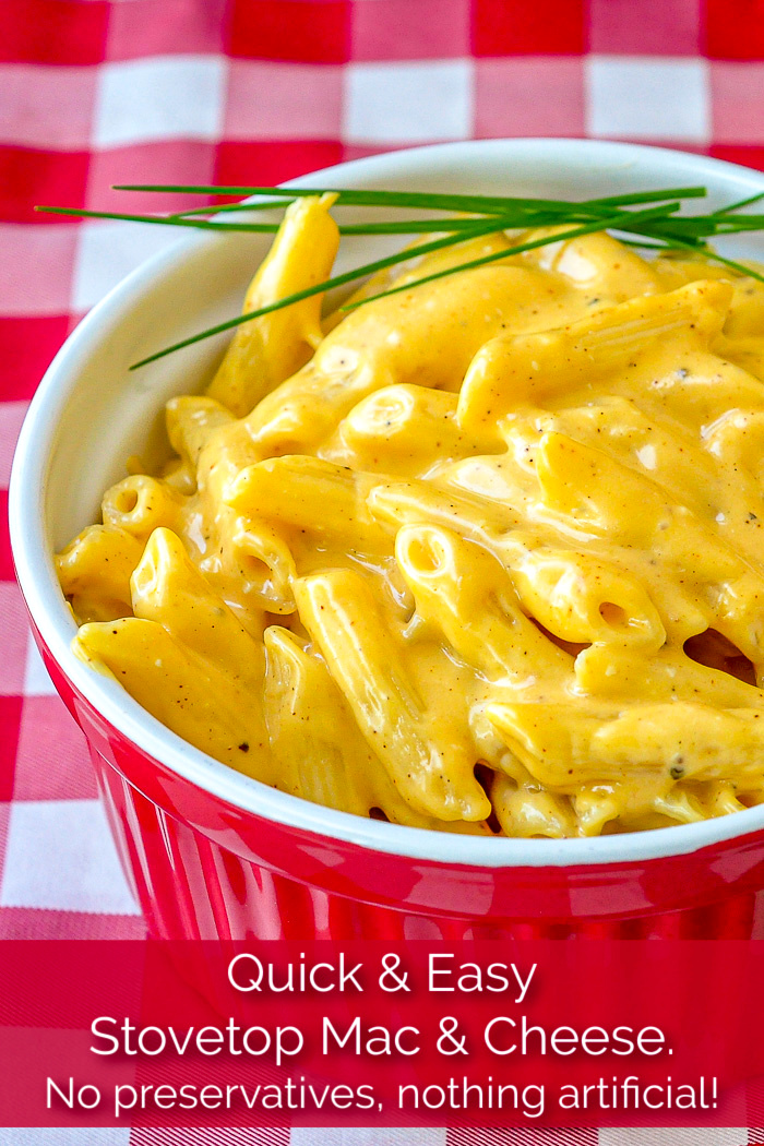 Quick and Easy Stovetop Mac and Cheese photo with title text added for Pinterest