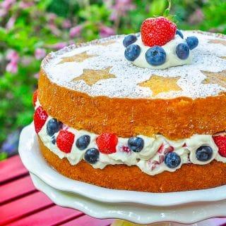 Red White & Blue Cake with Mascarpone Cream