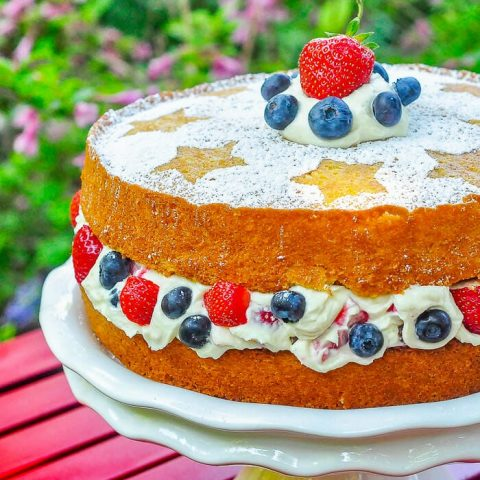 Red White and Blue Mascarpone Cream Cake close up photo