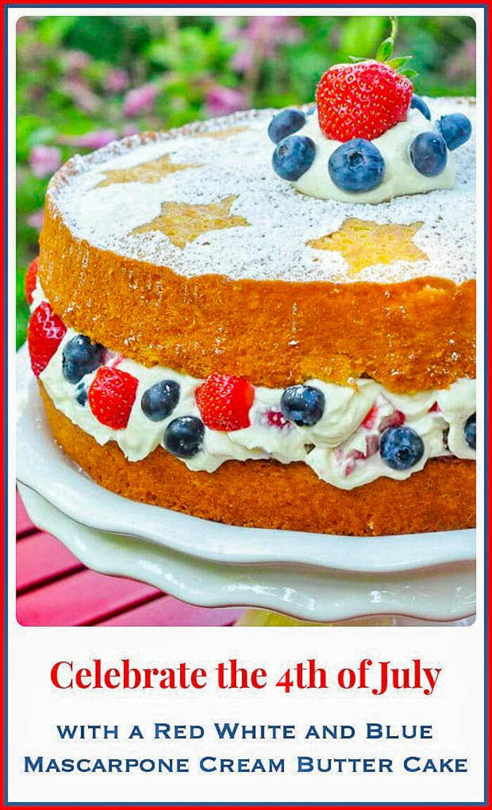 Red White and Blue Mascarpone Cream Cake full finished cake image with title text for Pinterest