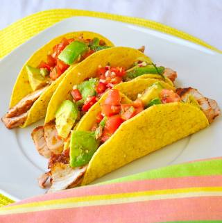 Spicy Barbecue Pork Chop Tacos with Chunky Avocado Salsa