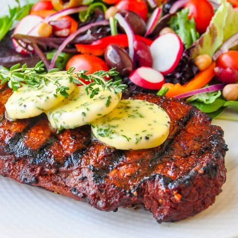 Smoked Paprika and Balsamic Steak with Garlic Herb Butter