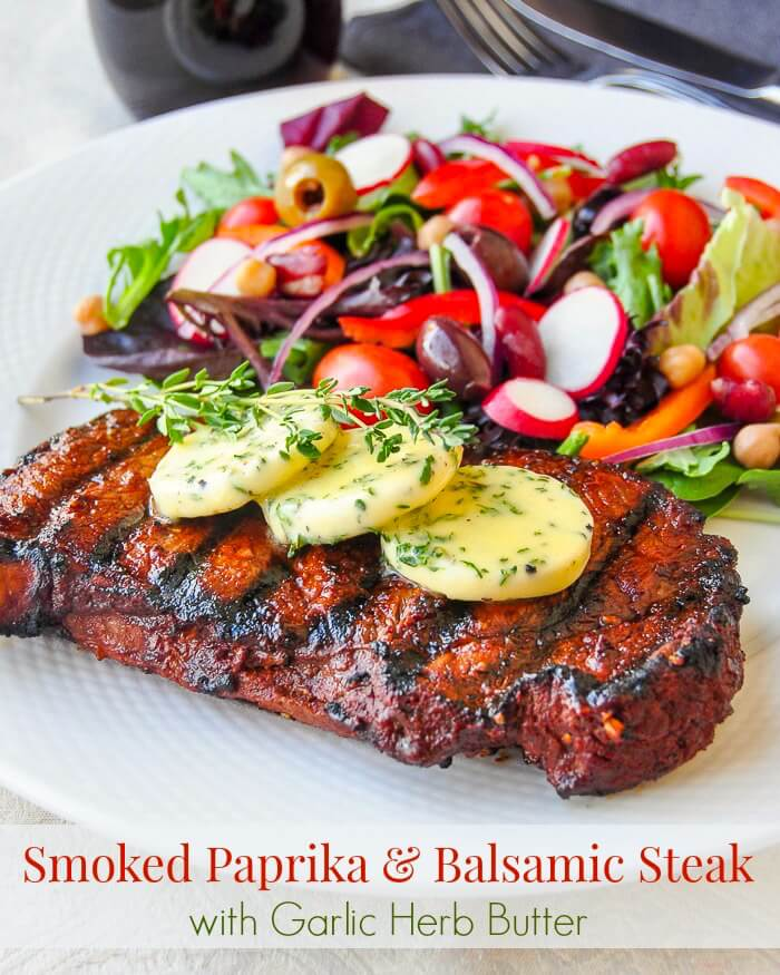 Smoked Paprika and Balsamic Steak with Garlic Herb Butter image with text