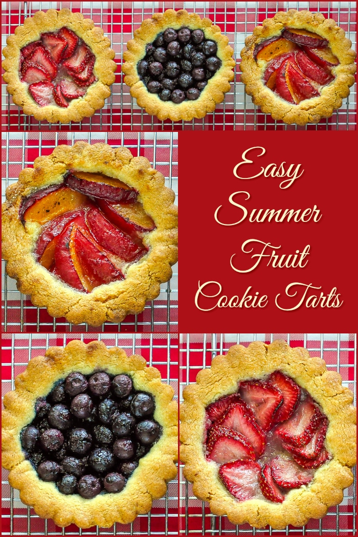 Summer Fruit Cookie Tarts photo collage with title text added for Pinterest