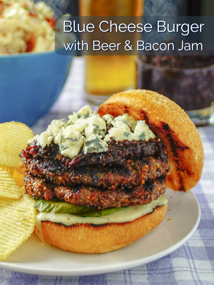 Blue Cheese Burger with Beer and Bacon Jam
