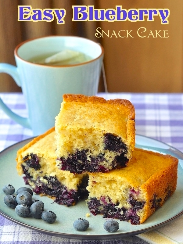 Blueberry Snack Cake, photo with title text