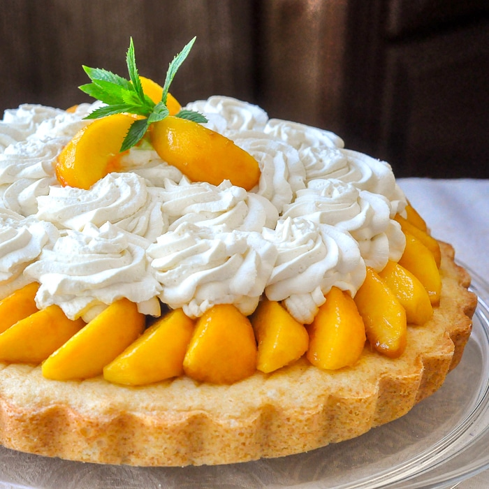 Brandied Peach Shortcake close up featured square image