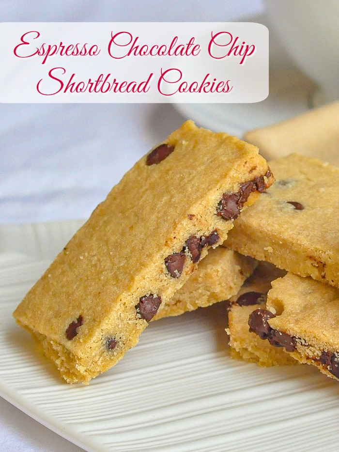 Espresso Chocolate Chip Shortbread Cookies photo with title text for Pintertest