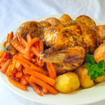 Glazed Maple Chipotle Roast Chicken close up photo for featured image