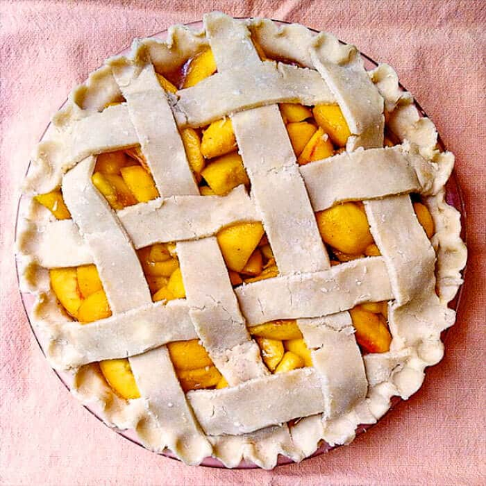 Perfect Peach Pie ready for the oven.