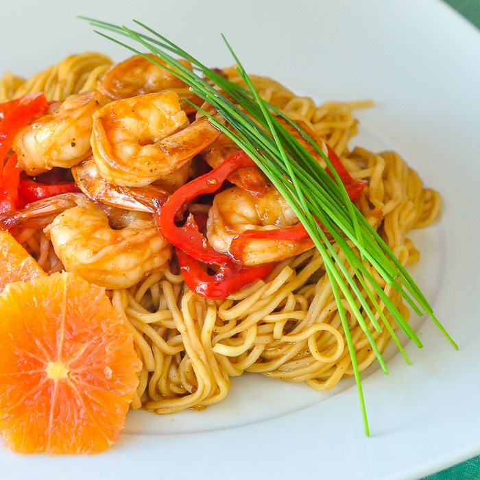 15 Minute Orange Hoisin Shrimp & Noodles close up square featured photo