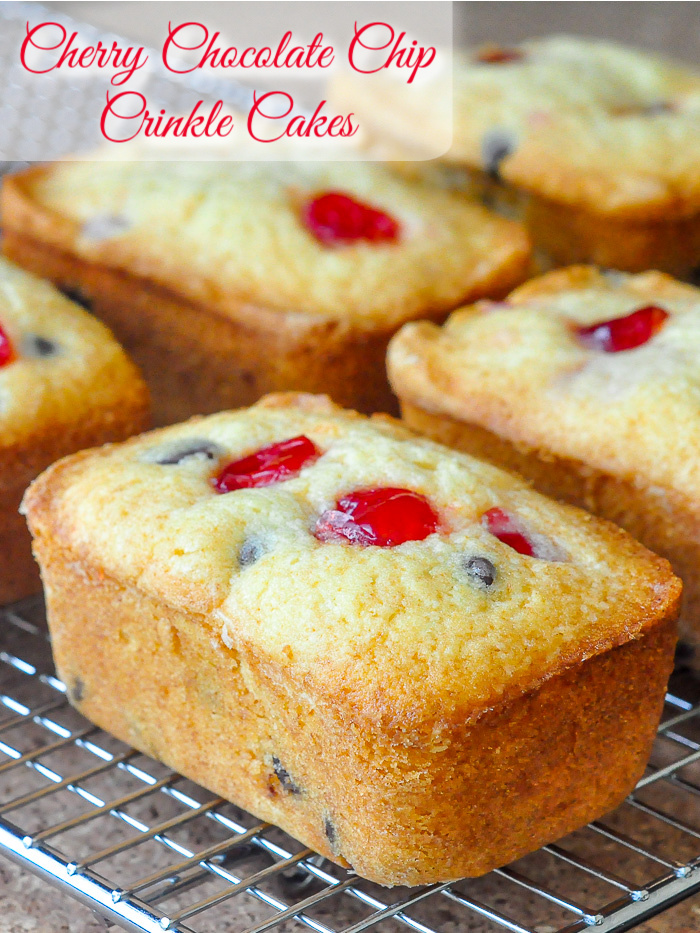 Cherry Chocolate Chip Crinkle Cakes photo with title text for Pinterest