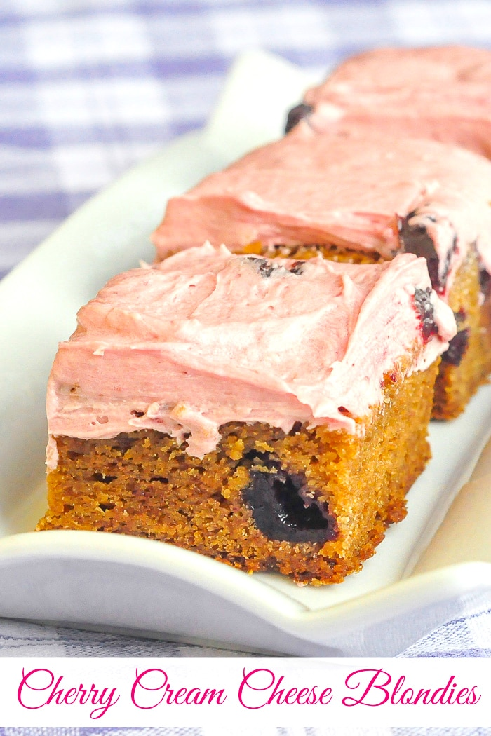 Cherry Cream Cheese Blondies photo with title text for Pinterest