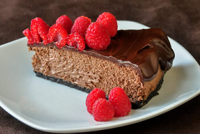 Chocolate Mousse Cheesecake photo of a cut slice