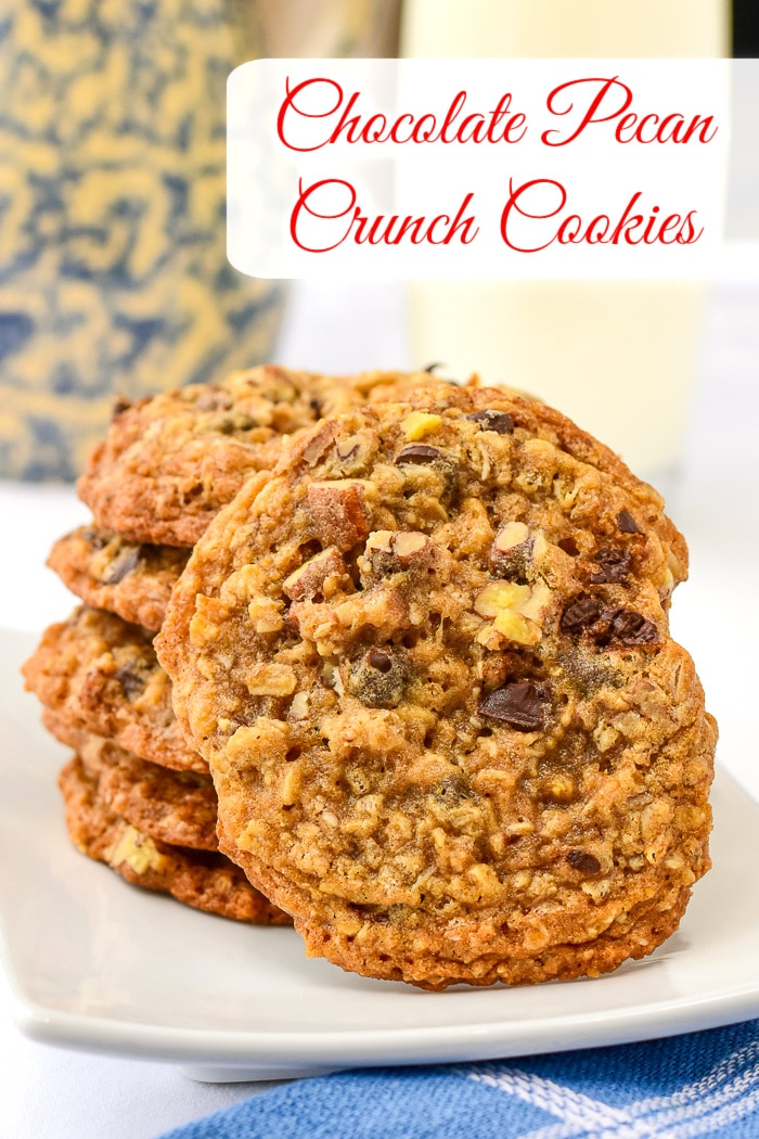 Chocolate Pecan Crunch Cookies photo with title text added for Pinterest