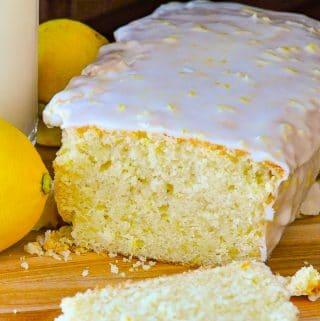 Glazed Lemon Pound Cake close up photo of cut cake