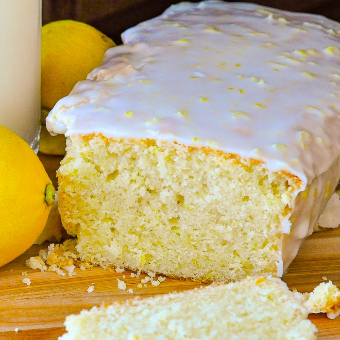 Glazed Lemon Pound Cake close up photo of cut cake