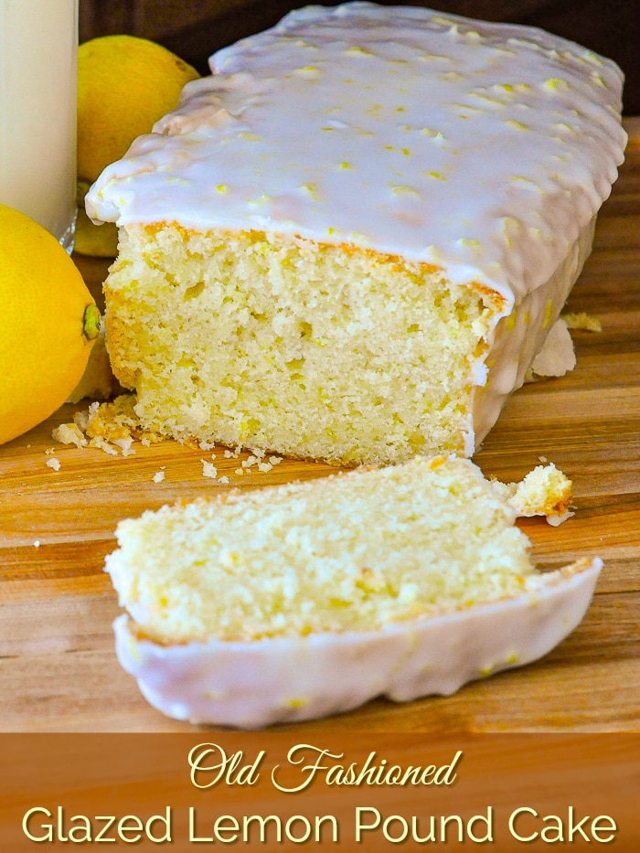 Glazed Lemon Pound Cake photo with title text for Pinterest