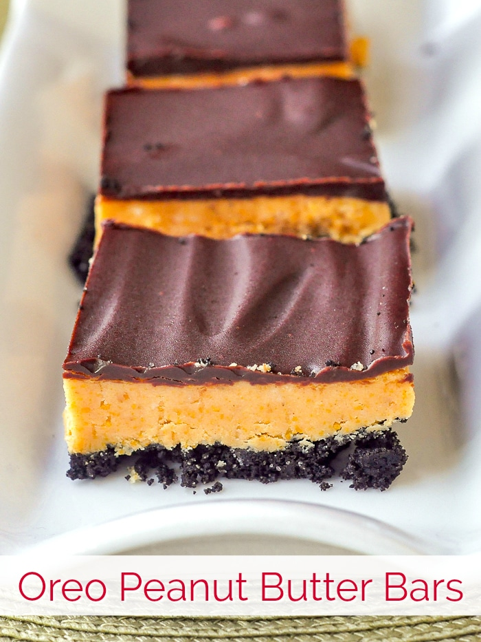 Oreo Peanut Butter Bars photo with title text for Pinterest