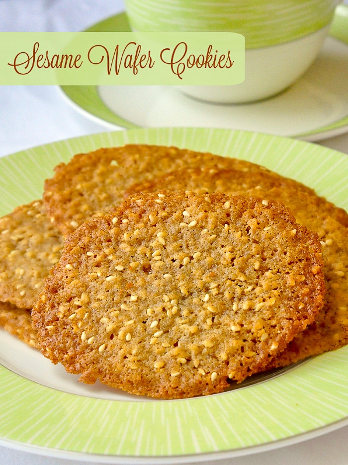 Sesame Wafer Cookies photo with title text for Pinterest