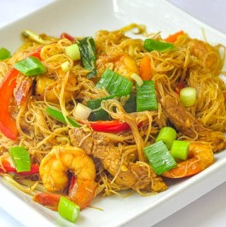 Singapore Noodles photo of a single serving on a white plate