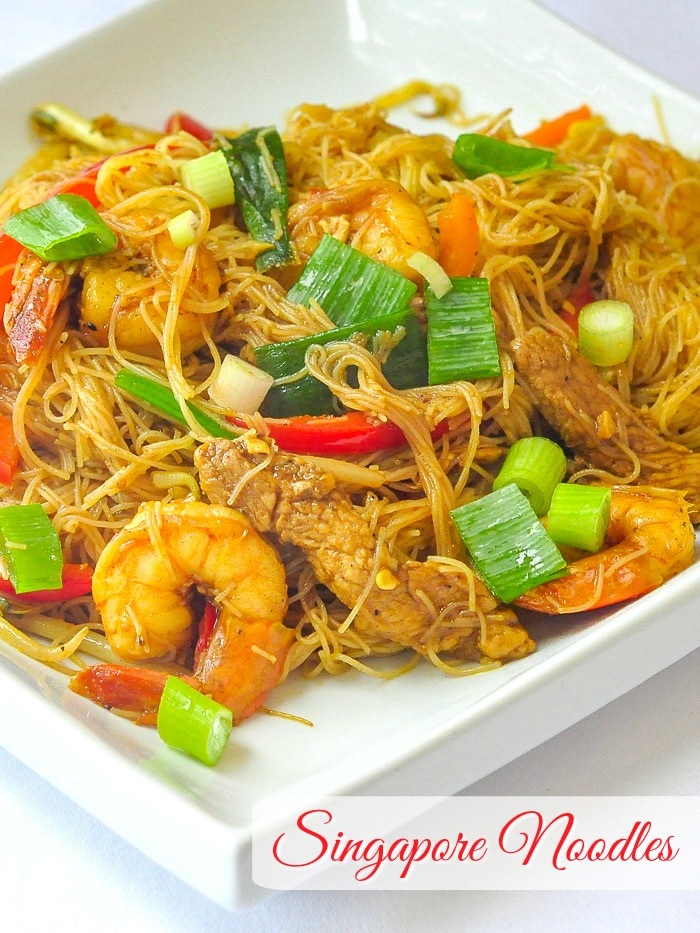 Singapore Noodles photo with title text added for Pinterest