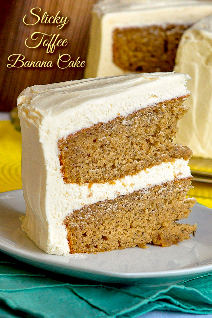 Sticky Toffee Banana Cake photo with title text added for Pinterest