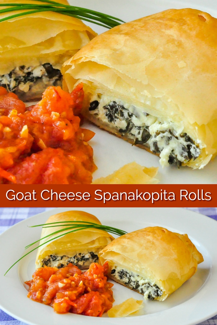 Goat Cheese Spanakopita Rolls photo collage with title text for Pinterest