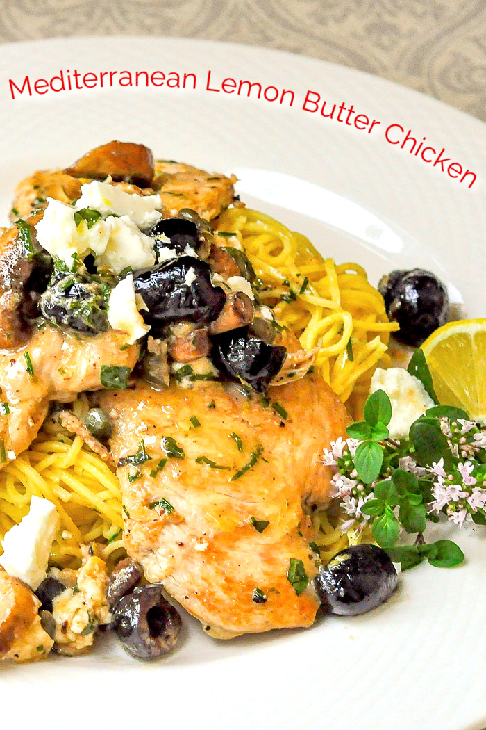 Mediterranean Lemon Butter Chicken image with title text added for Pinterest