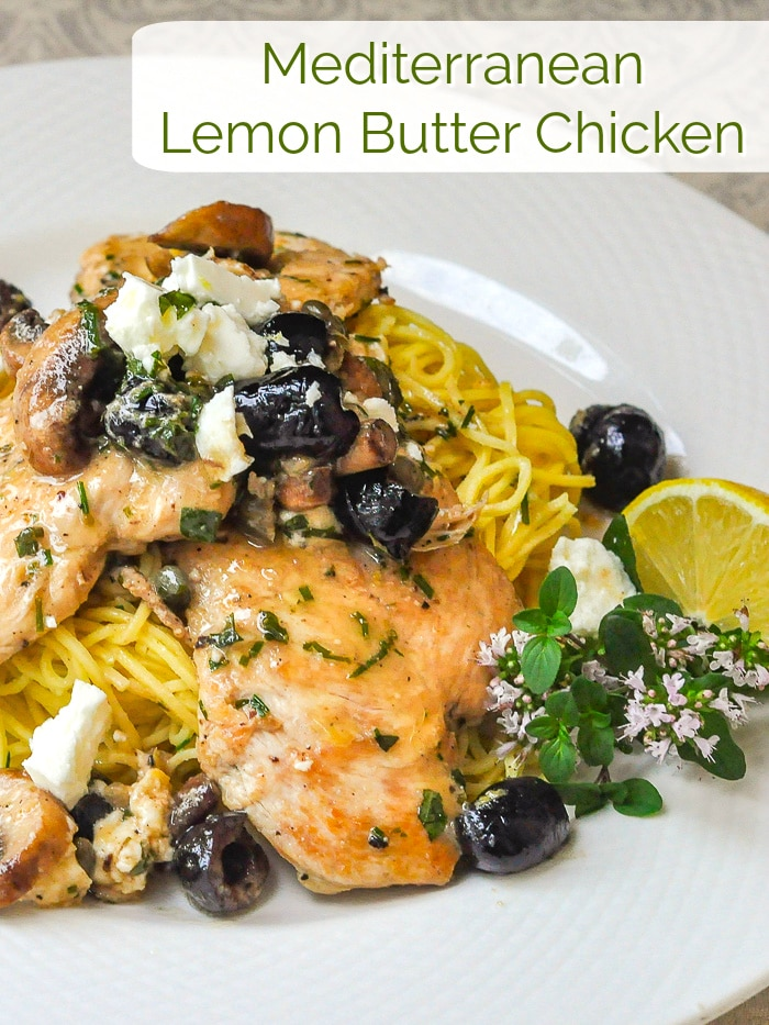 Mediterranean Lemon Butter Chicken photo with title text for Pinterest