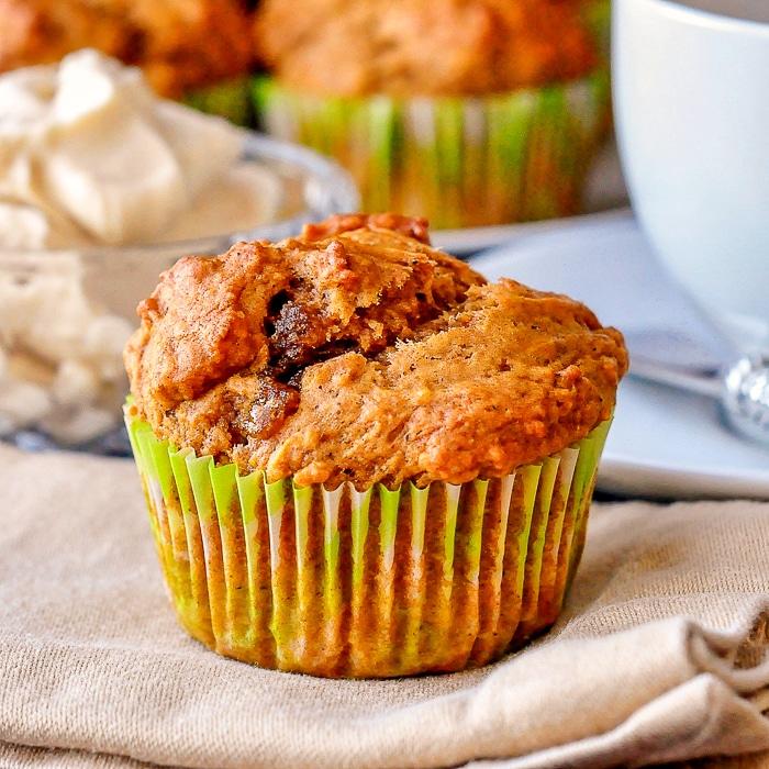 Pumpkin Spice Muffins close up of single uncut muffin