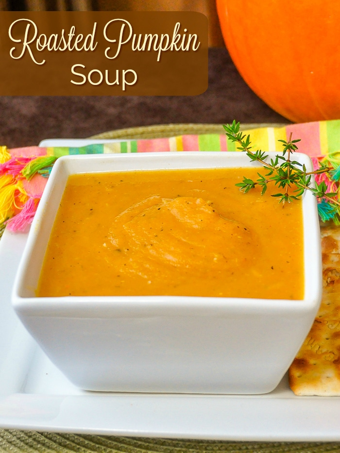 Roasted Pumpkin Soup image with title text for Pinterest