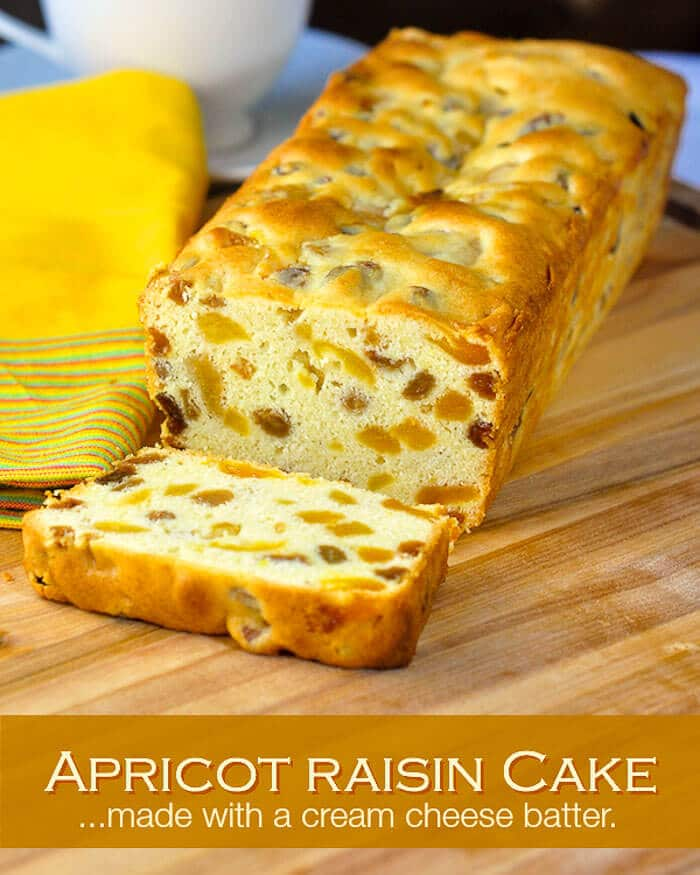 Apricot Raisin Cake. Image with title text.