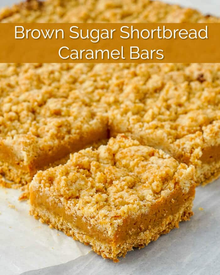 Brown Sugar Shortbread Caramel Bars image with title text