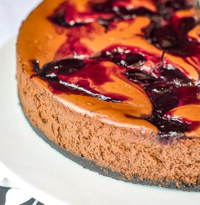 Chocolate Cherry Swirl Cheesecake close up featured photo