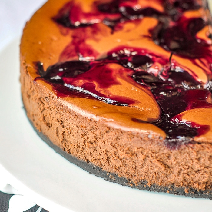 Chocolate Cherry Swirl Cheesecake close up featured photo