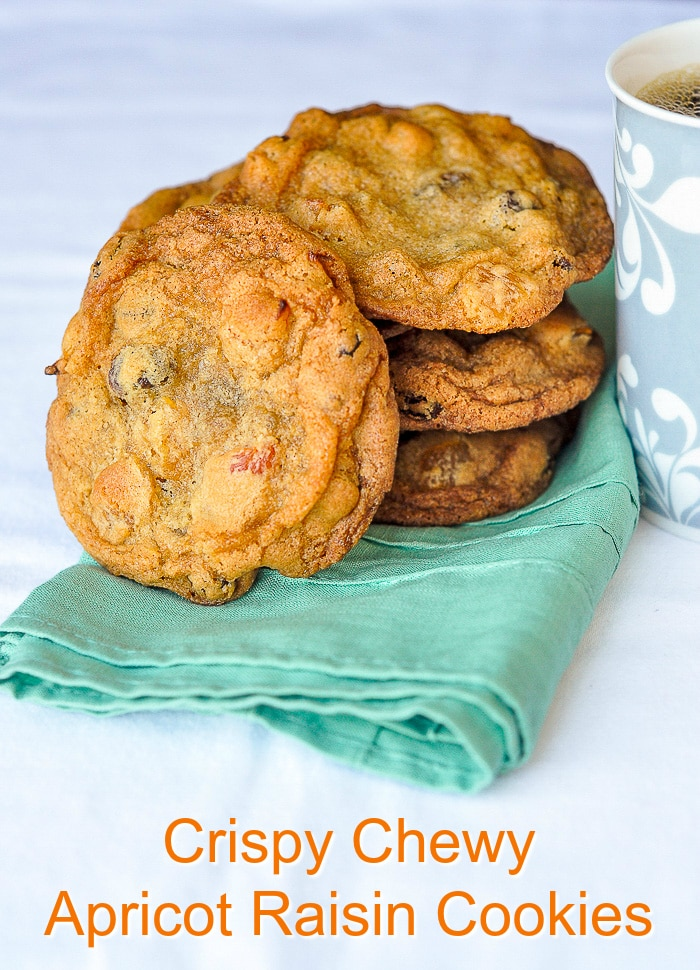 Crispy Chewy Apricot Raisin Cookies photo with title text for Pinterest