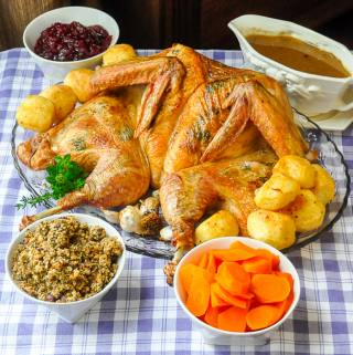 Flat Roasted Turkey with Garlic & Herbs