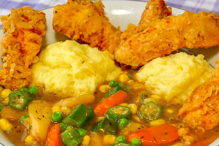 Fried Chicken Stew close up image in white bowl.