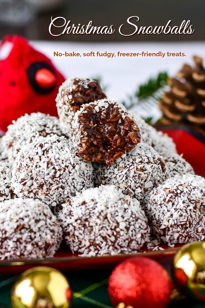 Newfoundland Snowballs stacked on a white plate with title text added for Pinterest