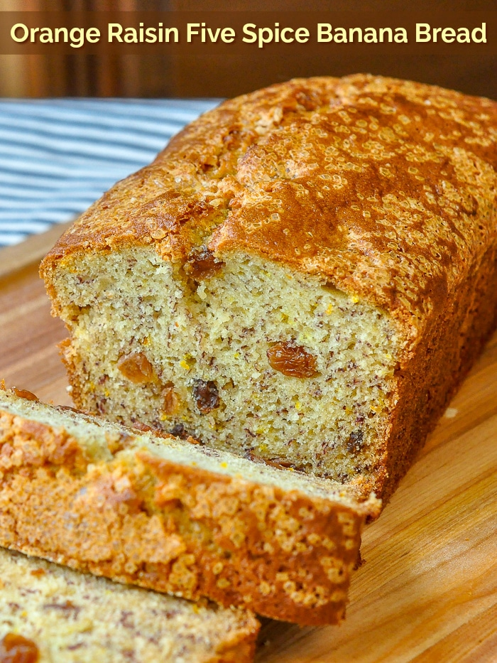 Orange Raisin Five Spice Banana Bread photo with title text for Pinterest