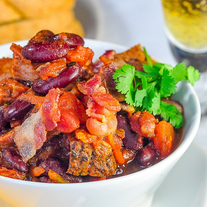 Prime Rib Beer Bacon Chili close up photo of a single serving