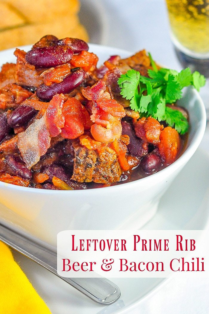 Prime Rib Beer Bacon Chili photo with title text for Pinterest