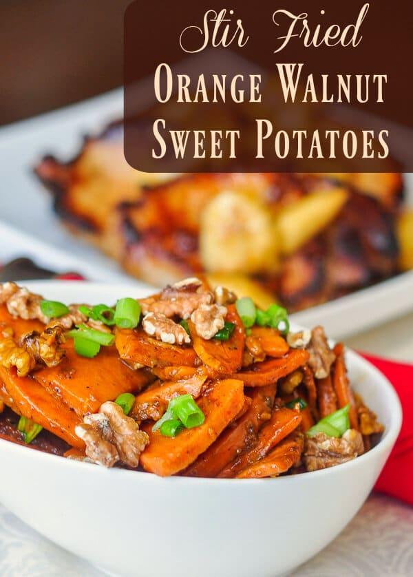 stir fried orange walnut sweet potatoes image with title text